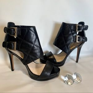 Nine West  Open Toe/Ankle Strapped Leather Heels